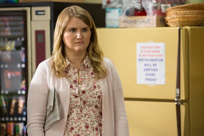 "JILLIAN BELL as Holly in the New Line Cinema and Village Roadshow Pictures comedy ""FIST FIGHT,"" a Warner Bros. Pictures release."