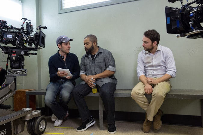 "Director RICHIE KEEN, ICE CUBE and CHARLIE DAY on the set of the New Line Cinema and Village Roadshow Pictures comedy ""FIST FIGHT,"" a Warner Bros. Pictures release."