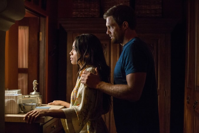 "ROSARIO DAWSON as Julia Banks and GEOFF STULTS as David Connover in Warner Bros. Pictures' dramatic thriller ""UNFORGETTABLE,"" a Warner Bros. Pictures release."