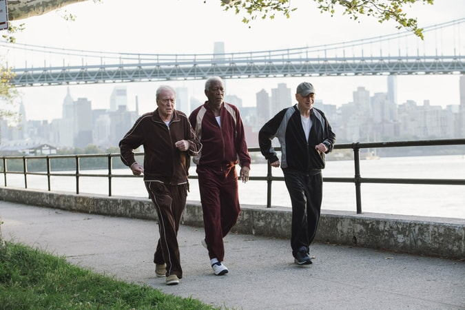"MICHAEL CAINE as Joe Harding, MORGAN FREEMAN as Willie Davis and ALAN ARKIN as Albert Garner in the New Line Cinema and Village Roadshow comedy ""GOING IN STYLE,"" a Warner Bros. Pictures"