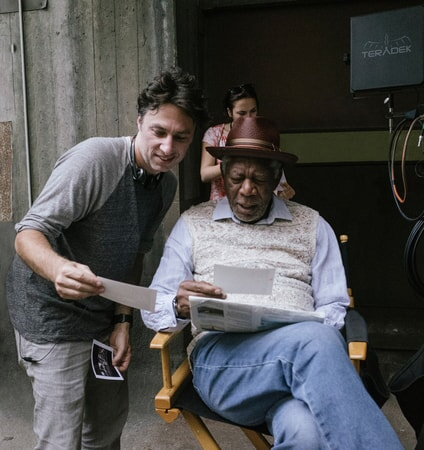 "Director ZACH BRAFF and MORGAN FREEMAN on the set of the New Line Cinema and Village Roadshow comedy ""GOING IN STYLE,"" a Warner Bros. Pictures release."
