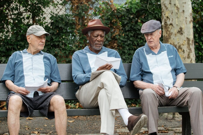 "ALAN ARKIN as Al, MORGAN FREEMAN as Willie and MICHAEL CAINE as Joe in the New Line Cinema comedy ""GOING IN STYLE,"" a Warner Bros. Pictures release."