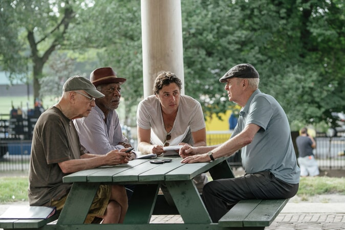 "ALAN ARKIN, MORGAN FREEMAN, director ZACH BRAFF and MICHAEL CAINE on the set of the New Line Cinema and Village Roadshow comedy ""GOING IN STYLE,"" a Warner Bros. Pictures release."