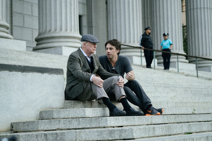 "MICHAEL CAINE and director ZACH BRAFF on the set of the New Line Cinema and Village Roadshow comedy ""GOING IN STYLE,"" a Warner Bros. Pictures release."