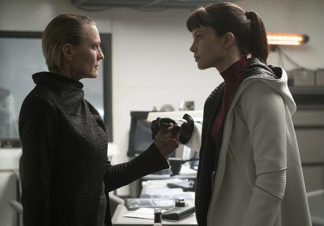 "ROBIN WRIGHT as Lt. Joshi and SYLVIA HOEKS as Luv in Alcon Entertainment's action thriller ""BLADE RUNNER 2049,"" a Warner Bros. Pictures and Sony Pictures Entertainment release, domestic distribution by Warner Bros. Pictures and international distribution by Sony Pictures."