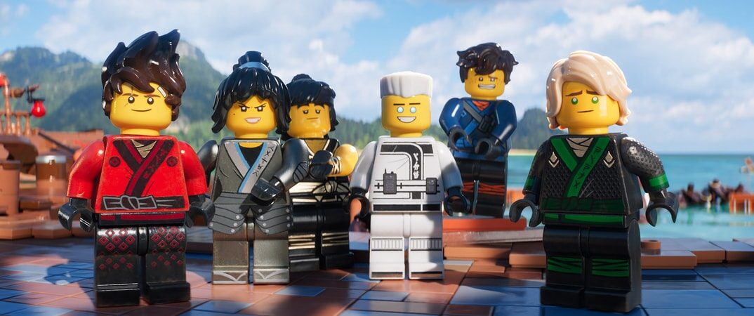 """(L-R) Kai (voiced by MICHAEL PEÑA), Nya (voiced by ABBI JACOBSON), Cole (voiced by FRED ARMISEN), Zane (voiced by ZACH WOODS), Jay (voiced by KUMAIL NANJIANI) and Lloyd (voiced by DAVE FRANCO) in the new animated adventure """"THE LEGO® NINJAGO® MOVIE,"""" from Warner Bros. Pictures and Warner Animation Group, in association with LEGO System A/S, a Warner Bros. Pictures release."""