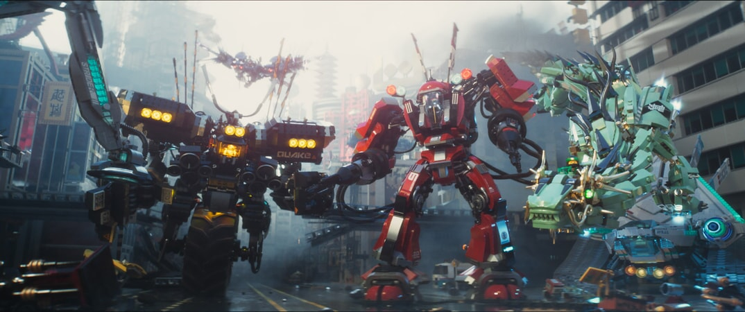 """(L-R) Cole (voiced by FRED ARMISEN) in the Quake Mech, Kai (voiced by MICHAEL PEÑA) in the Fire Mech and Lloyd (voiced by DAVE FRANCO) in the Green Ninja Mech Dragon in the new animated adventure """"THE LEGO® NINJAGO® MOVIE,"""" from Warner Bros. Pictures and Warner Animation Group, in association with LEGO System A/S, a Warner Bros. Pictures release."""