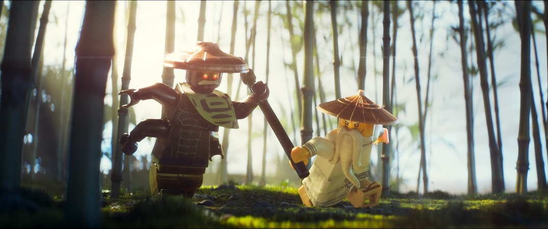 """(L-R) Garmadon (voiced by JUSTIN THEROUX) and Master Wu (voiced by JACKIE CHAN) in the new animated adventure """"THE LEGO® NINJAGO® MOVIE,"""" from Warner Bros. Pictures and Warner Animation Group, in association with LEGO System A/S, a Warner Bros. Pictures release."""