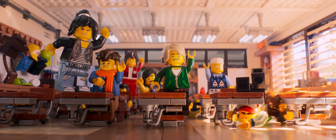 """(L-R) Nya (voiced by ABBI JACOBSON), Jay (voiced by KUMAIL NANJIANI), Kai (voiced by MICHAEL PEÑA), Cole (voiced by FRED ARMISEN), Lloyd (voiced by DAVE FRANCO) and Zane (voiced by ZACH WOODS) in the new animated adventure """"THE LEGO® NINJAGO® MOVIE,"""" from Warner Bros. Pictures and Warner Animation Group, in association with LEGO System A/S, a Warner Bros. Pictures release."""