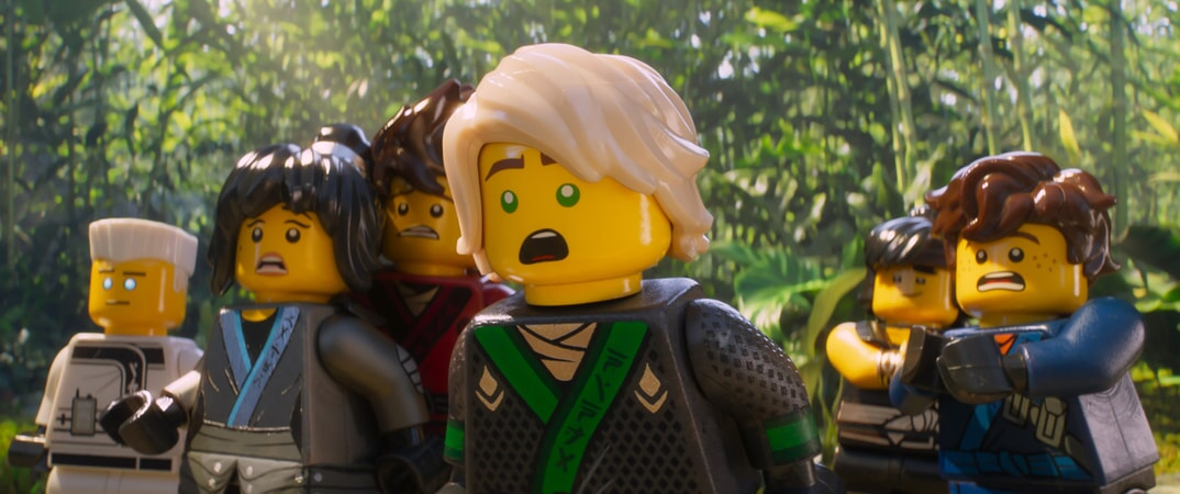"""(L-R) Zane (voiced by ZACH WOODS), Nya (voiced by ABBI JACOBSON), Kai (voiced by MICHAEL PEÑA), Lloyd (voiced by DAVE FRANCO), Cole (voiced by FRED ARMISEN) and Jay (voiced by KUMAIL NANJIANI) and in the new animated adventure """"THE LEGO® NINJAGO® MOVIE,"""" from Warner Bros. Pictures and Warner Animation Group, in association with LEGO System A/S, a Warner Bros. Pictures release."""