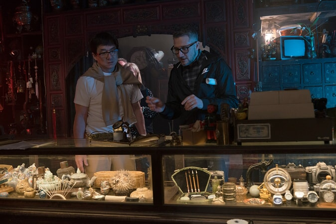 """JACKIE CHAN and director CHARLIE BEAN on the set of the new animated adventure """"THE LEGO® NINJAGO® MOVIE,"""" from Warner Bros. Pictures and Warner Animation Group, in association with LEGO System A/S, a Warner Bros. Pictures release."""