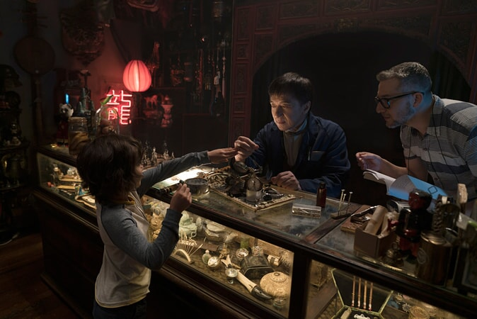 """(L-R) KAAN GULDUR, JACKIE CHAN and director CHARLIE BEAN on the set of the new animated adventure """"THE LEGO® NINJAGO® MOVIE,"""" from Warner Bros. Pictures and Warner Animation Group, in association with LEGO System A/S, a Warner Bros. Pictures release."""