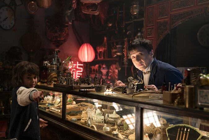 """(L-R) KAAN GULDUR as Kid and JACKIE CHAN as Mr. Liu in the new animated adventure """"THE LEGO® NINJAGO® MOVIE,"""" from Warner Bros. Pictures and Warner Animation Group, in association with LEGO System A/S, a Warner Bros. Pictures release."""