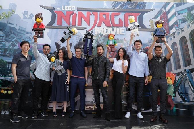 "Producer Dan Lin, Michael Peña, Abbi Jacobson, Dave Franco, Justin Theroux, Olivia Munn, Zach Woods and Kumail Nanjiani at the Warner Bros. Pictures ""THE LEGO© NINJAGO MOVIE,"" 2017 San Diego Comic-Con ""Ninjoga"" event."