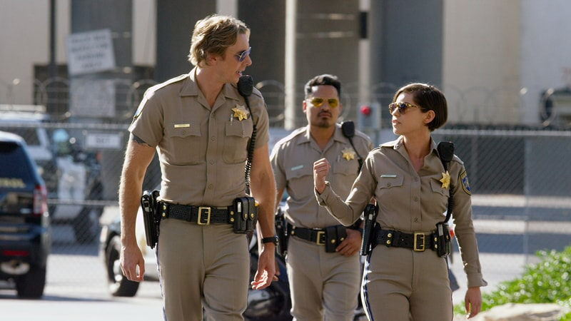 "DAX SHEPARD as Jon, MICHAEL PEÑA as Ponch and ROSA SALAZAR as Ava Perez in Warner Bros. Pictures' action comedy ""CHIPS,"" a Warner Bros. Pictures release."