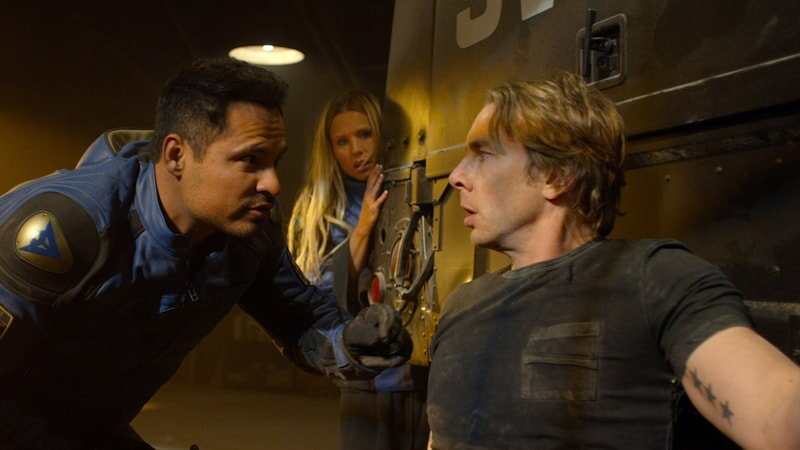 "MICHAEL PEÑA as Ponch, KRISTEN BELL as Karen and DAX SHEPARD as Jon in Warner Bros. Pictures' action comedy ""CHIPS,"" a Warner Bros. Pictures release."
