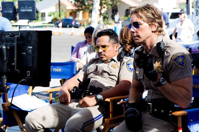 "MICHAEL PEÑA and writer/director/star DAX SHEPARD behind the scenes on Warner Bros. Pictures' action comedy ""CHIPS,"" a Warner Bros. Pictures release."