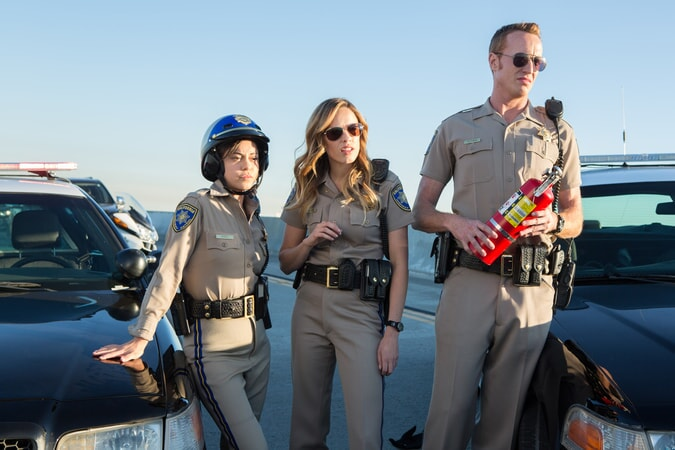 "ROSA SALAZAR as Ava Perez, JESSICA McNAMEE as Lindsey Taylor and JESS ROWLAND as Rathbun in Warner Bros. Pictures' action comedy ""CHIPS,"" a Warner Bros. Pictures release."