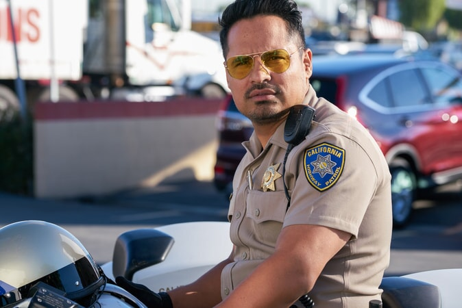 "MICHAEL PEÑA as Ponch in Warner Bros. Pictures' action comedy ""CHIPS,"" a Warner Bros. Pictures release."