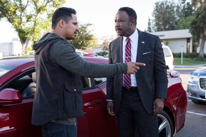 "MICHAEL PEÑA as Ponch and ISIAH WHITLOCK JR. as Peterson in Warner Bros. Pictures' action comedy ""CHIPS,"" a Warner Bros. Pictures release."