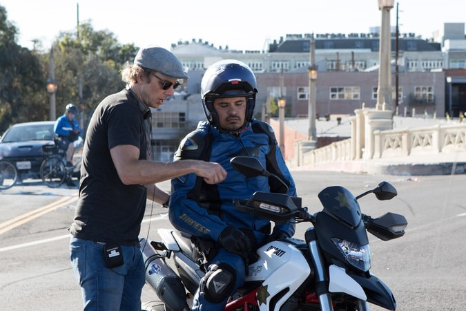 "Writer/director/star DAX SHEPARD and MICHAEL PEÑA behind the scenes on Warner Bros. Pictures' action comedy ""CHIPS,"" a Warner Bros. Pictures release."