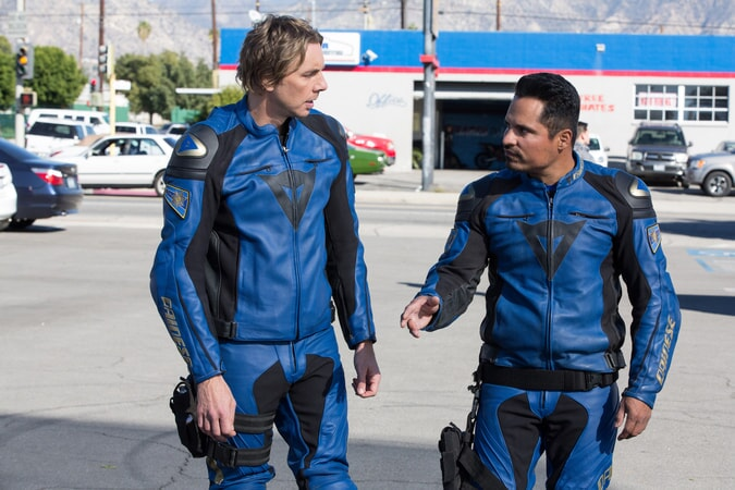 "DAX SHEPARD as Jon and MICHAEL PEÑA as Ponch in Warner Bros. Pictures' action comedy ""CHIPS,"" a Warner Bros. Pictures release."