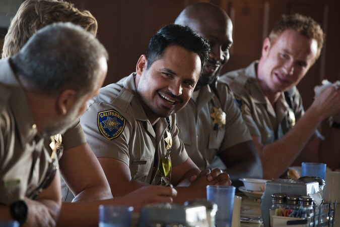 "MICHAEL PEÑA as Ponch, RICHARD T. JONES as Parish and JESS ROWLAND as Rathbun in Warner Bros. Pictures' action comedy ""CHIPS,"" a Warner Bros. Pictures release."