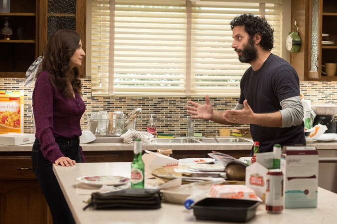 """MICHAELA WATKINS as Raina and JASON MANTZOUKAS as Frank in the New Line Cinema and Village Roadshow Pictures comedy """"THE HOUSE,"""" a Warner Bros. Pictures release."""