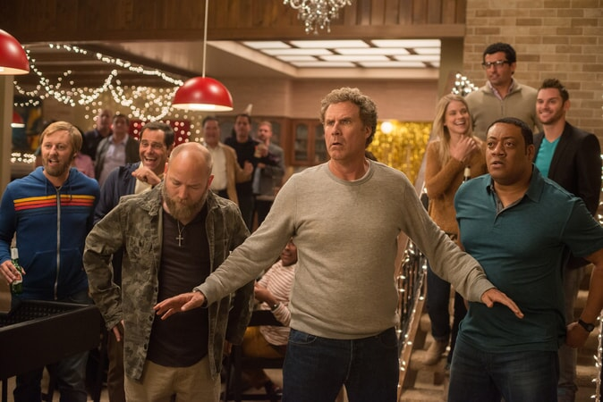 """RORY SCOVEL as Joe, ANDY BUCKLEY as Craig, KYLE KINANE as Garvey, WILL FERRELL as Scott Johansen and CEDRIC YARBROUGH as Reggie in the New Line Cinema and Village Roadshow Pictures comedy """"THE HOUSE,"""" a Warner Bros. Pictures release."""