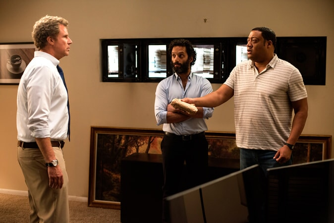 """WILL FERRELL as Scott Johansen, JASON MANTZOUKAS as Frank and CEDRIC YARBROUGH as Reggie in the New Line Cinema and Village Roadshow Pictures comedy """"THE HOUSE,"""" a Warner Bros. Pictures release."""