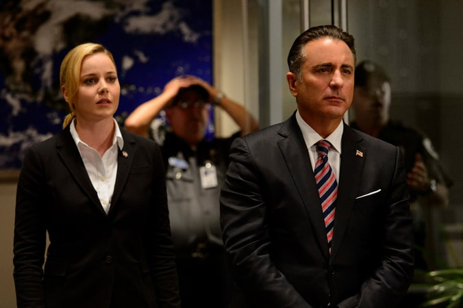 "ABBIE CORNISH as Sarah Wilson and ANDY GARCIA as President Andrew Palma in Warner Bros. Pictures' and Skydance's suspense thriller ""GEOSTORM,"" a Warner Bros. Pictures release."