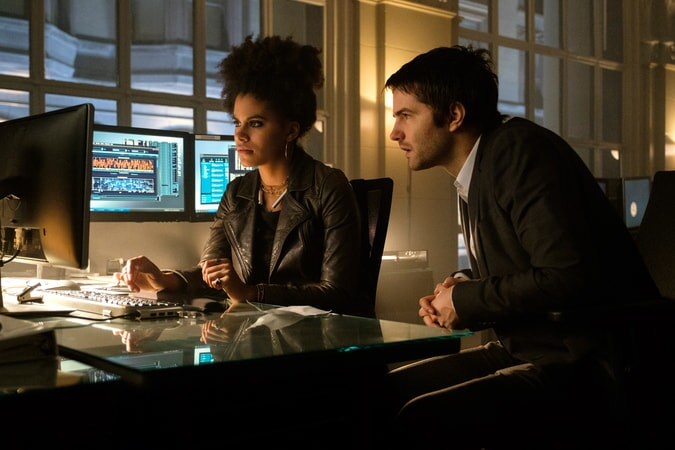 "ZAZIE BEETZ as Dana and JIM STURGESS as Max Lawson in Warner Bros. Pictures' and Skydance's suspense thriller ""GEOSTORM,"" a Warner Bros. Pictures release."