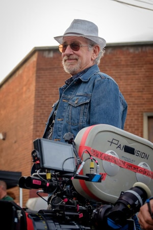 "Director/producer STEVEN SPIELBERG on the set of Warner Bros. Pictures', Amblin Entertainment's and Village Roadshow Pictures' action adventure ""READY PLAYER ONE,"" a Warner Bros. Pictures release."