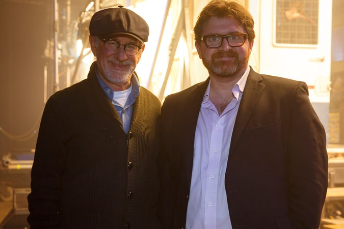 "(L-R) Director/producer STEVEN SPIELBERG and screenwriter/author ERNEST CLINE on the set of Warner Bros. Pictures', Amblin Entertainment's and Village Roadshow Pictures' action adventure ""READY PLAYER ONE,"" a Warner Bros. Pictures release."