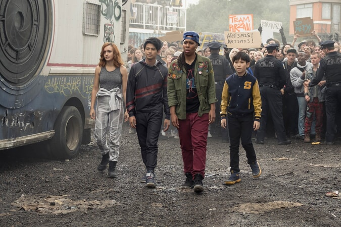 "(L-R) OLIVIA COOKE as Samantha, WIN MORISAKI as Daito, LENA WAITHE as Helen and Sho voiced by PHILIP ZHAO in Warner Bros. Pictures', Amblin Entertainment's and Village Roadshow Pictures' action adventure ""READY PLAYER ONE,"" a Warner Bros. Pictures release."