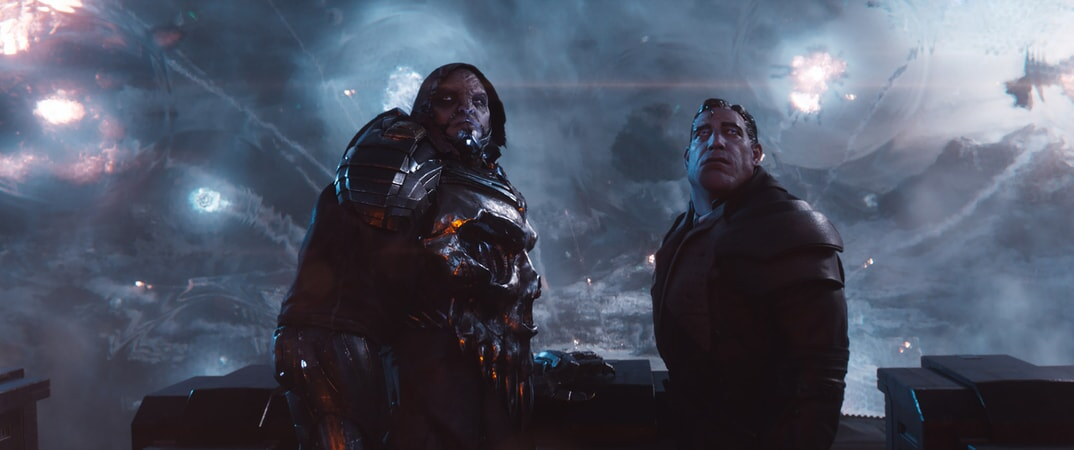 "(L-R) T.J. MILLER as I-R0k and BEN MENDELSOHN as Sorrento in Warner Bros. Pictures', Amblin Entertainment's and Village Roadshow Pictures' action adventure ""READY PLAYER ONE,"" a Warner Bros. Pictures release."