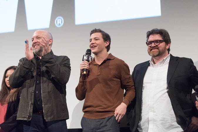 "(L-r) Screenwriter ZAK PENN with TYE SHERIDAN and co-screenwriter/author/co-producer ERNEST CLINE at SXSW 2018 in Austin, Texas for Warner Bros. Pictures,' Amblin Entertainment's and Village Roadshow Pictures' science fiction action adventure ""READY PLAYER ONE,"" a Warner Bros. Pictures release."