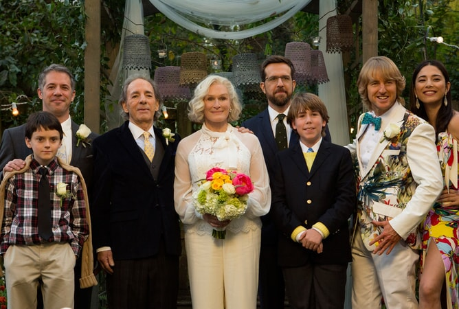 """HARRY SHEARER as Gene, GLENN CLOSE as Helen, ED HELMS as Peter Reynolds, ZACHARY HAVEN as Ethan, OWEN WILSON as Kyle Reynolds and JESSICA GOMES as Kaylani in Alcon Entertainment's comedy """"FATHER FIGURES,"""" a Warner Bros. Pictures release."""