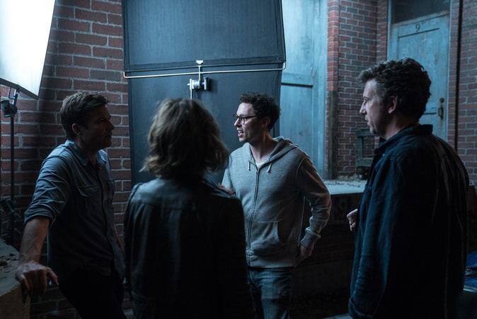 "(L-R) JASON BATEMAN, RACHEL McADAMS, director JOHN FRANCIS DALEY and director JONATHAN GOLDSTEIN on the set of New Line Cinema's action comedy ""GAME NIGHT,"" a Warner Bros. Pictures release."