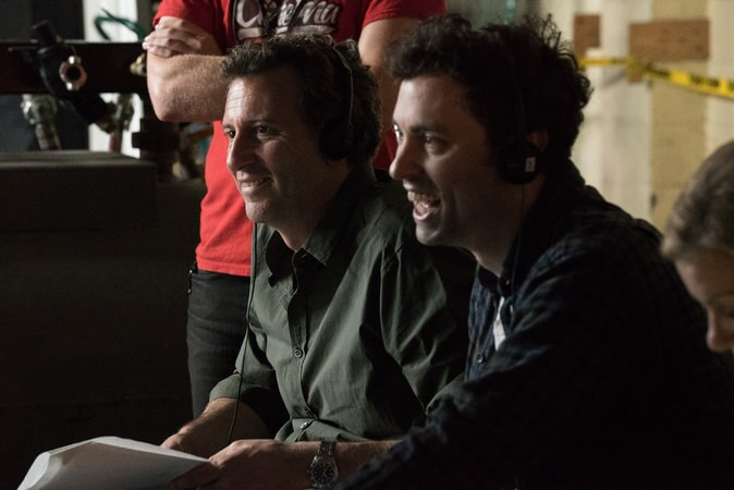 "(L-R) Director JONATHAN GOLDSTEIN and director JOHN FRANCIS DALEY on the set of New Line Cinema's action comedy ""GAME NIGHT,"" a Warner Bros. Pictures release."