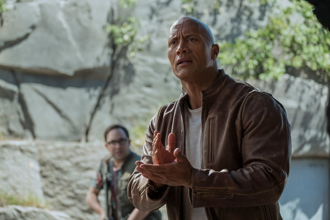 "P.J. BYRNE as Nelson and DWAYNE JOHNSON as Davis Okoye in New Line Cinema's and ASAP Entertainment's action adventure ""RAMPAGE,"" a Warner Bros. Pictures release."
