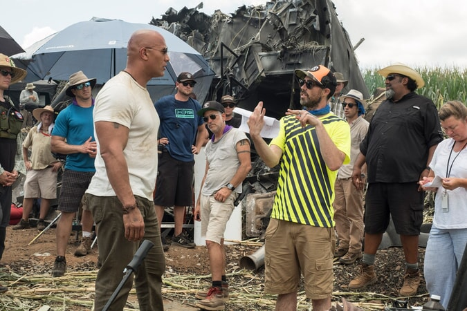 "(L-R) DWAYNE JOHNSON and director/producer BRAD PEYTON on the set of New Line Cinema's and ASAP Entertainment's action adventure ""RAMPAGE,"" a Warner Bros. Pictures release."