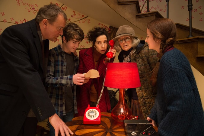 "HUGH BONNEVILLE as Henry Brown, SAMUEL JOSLIN as Jonathan Brown, SALLY HAWKINS as Mary Brown, JULIE WALTERS as Mrs. Bird and MADELEINE HARRIS as Judy Brown in the family adventure ""PADDINGTON 2,"" from Warner Bros. Pictures and STUDIOCANAL, in association with Anton Capital Entertainment S.C.A., a Warner Bros. Pictures release."