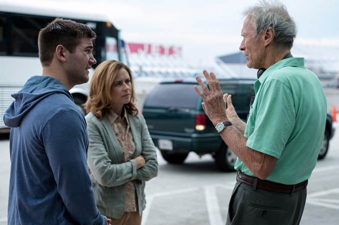 "(L-R) ALEK SKARLATOS, JENNA FISCHER and director/producer CLINT EASTWOOD on the set of Warner Bros. Pictures' and Village Roadshow Pictures' ""THE 15:17 TO PARIS,"" a Warner Bros. Pictures release."