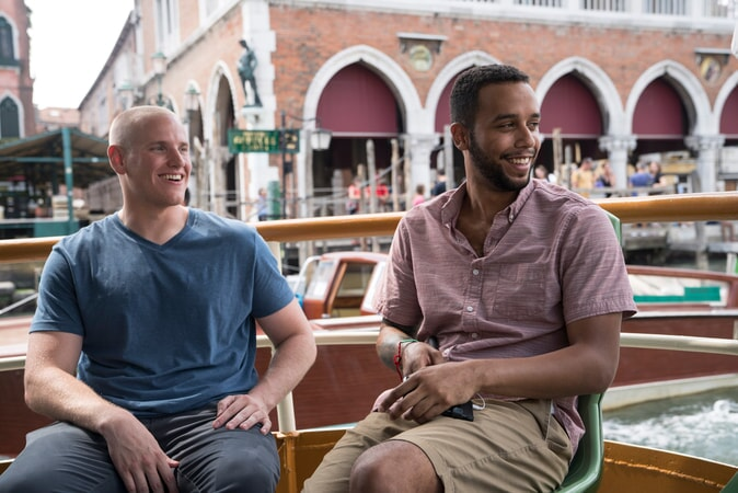 "SPENCER STONE as Spencer and ANTHONY SADLER as Anthony in Warner Bros. Pictures' and Village Roadshow Pictures' ""THE 15:17 TO PARIS,"" a Warner Bros. Pictures release."