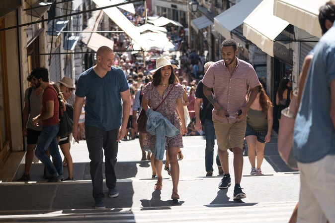 "SPENCER STONE as Spencer, ALISA ALLAPACH as Lisa and ANTHONY SADLER as Anthony in Warner Bros. Pictures' and Village Roadshow Pictures' ""THE 15:17 TO PARIS,"" a Warner Bros. Pictures release."