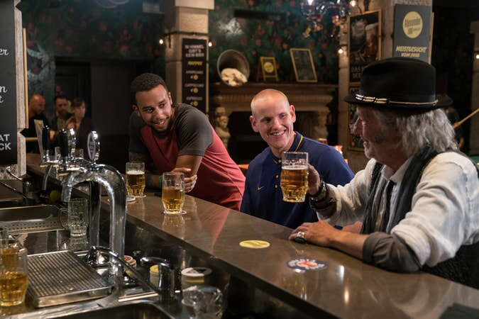 "ANTHONY SADLER as Anthony, SPENCER STONE as Spencer and VERNON DOBTCHEFF as Older Man in Warner Bros. Pictures' and Village Roadshow Pictures' ""THE 15:17 TO PARIS,"" a Warner Bros. Pictures release."