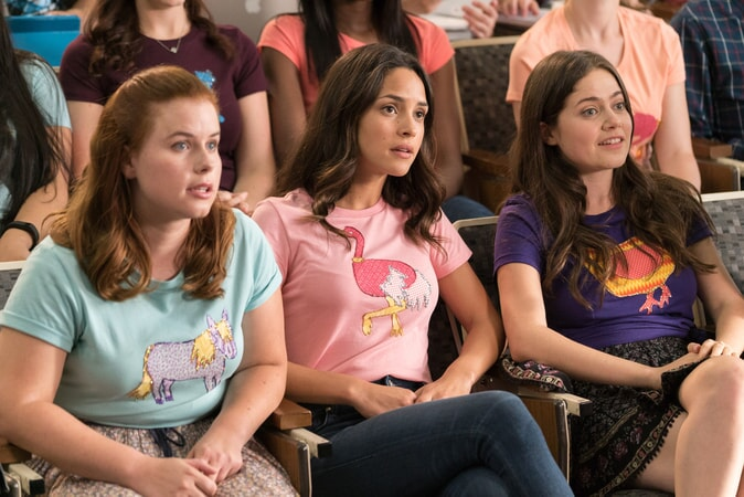 "(L-R) JESSIE ENNIS as Debbie, ADRIA ARJONA as Amanda and MOLLY GORDON as Maddie in New Line Cinema's comedy ""LIFE OF THE PARTY,"" a Warner Bros. Pictures' release."