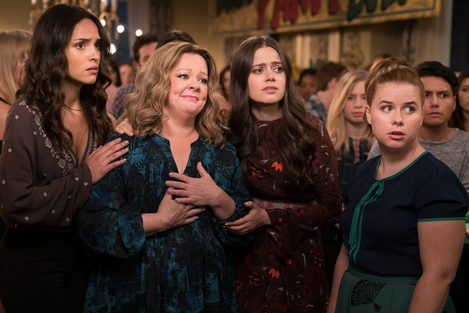 "(L-R) ADRIA ARJONA as Amanda, MELISSA McCARTHY as Deanna, MOLLY GORDON as Maddie and JESSIE ENNIS as Debbie in New Line Cinema's comedy ""LIFE OF THE PARTY,"" a Warner Bros. Pictures' release."