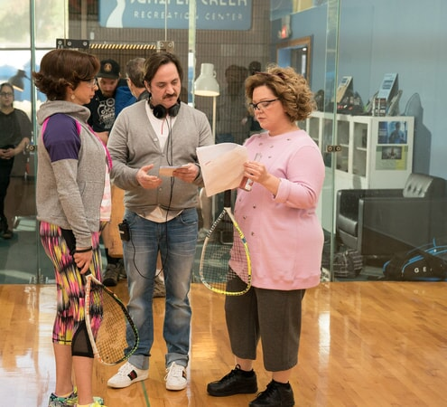 "(L-R) MAYA RUDOLPH, director/writer/producer BEN FALCONE and actress/writer/producer MELISSA McCARTHY on the set of New Line Cinema's comedy ""LIFE OF THE PARTY,"" a Warner Bros. Pictures' release."